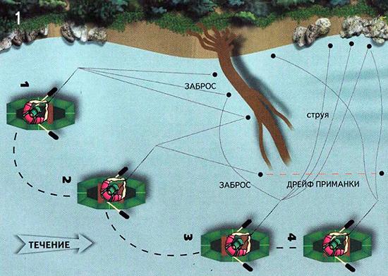 Схема ловли рыбы около упавшего в воду дерева