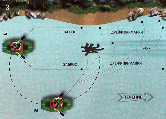 Схема ловли рыбу около торчащих из воды деревьев