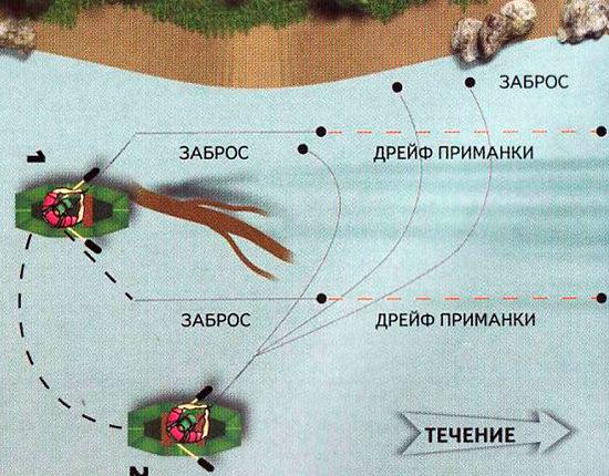 Схема ловли рыбы в коряжнике