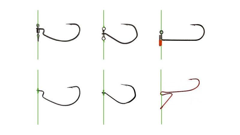 Крючки для дроп-шота и возможные способы их крепления