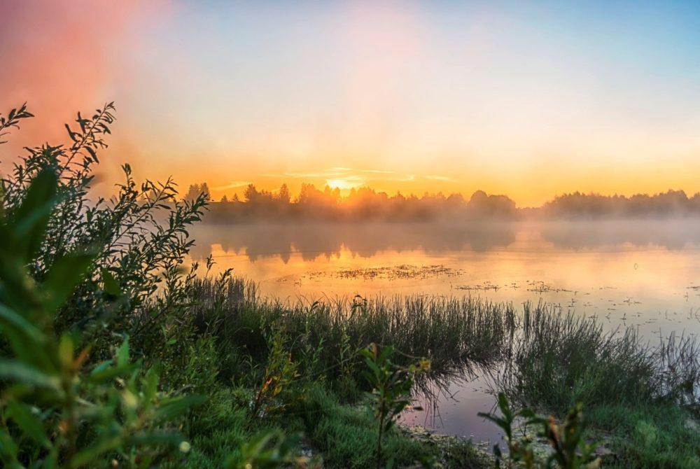 Восход солнца над рекой в августе